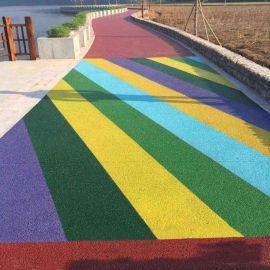 陕西延安市优质彩色透水混凝土透水地坪天然露骨料路面