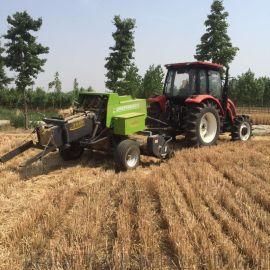 新疆拖拉机牵引捡拾方捆机 双粉碎方捆机