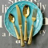 麥穗高檔西餐刀叉 304不鏽鋼牛排刀叉金色刀叉勺