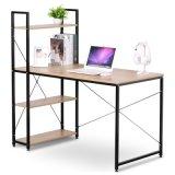 简约一体书桌 办公桌电脑桌多功能使用带书架