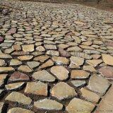锈色板岩碎拼石 黄锈石冰裂纹碎拼 加工定做板岩碎拼