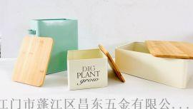带竹盖面包铁皮盒,铁皮盒,储物铁盒