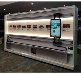 汽车展厅98寸红外触摸互动电动滑轨屏展示屏