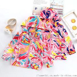 外贸童装,花童装,品牌童装,儿童外套防水冲锋衣