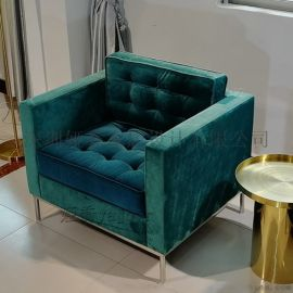 布艺皮革实木框架单人沙发休闲椅