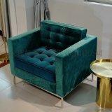 布藝皮革實木框架單人沙發休閒椅