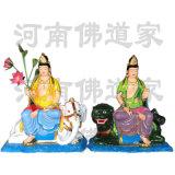 文殊菩萨坐青狮彩绘像