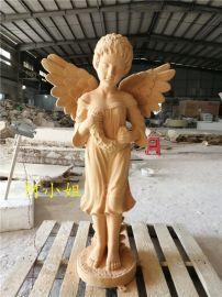 披着两个翅膀的玻璃钢人物雕塑爱情女神动漫卡通雕塑