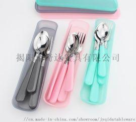 外贸原单 991 4件套塑料手柄不锈钢餐具