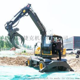 新疆策勒县小型轮式挖掘机 抓棉花的轮胎小挖机捷克