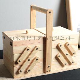 松木多层针线包收纳盒三层六格抽屉