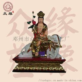 寺院佛像定制 雕塑文殊菩萨神像 鎏金彩绘普贤佛像
