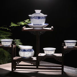 景德镇陶瓷手绘青花玲珑功夫茶杯茶具套装礼品