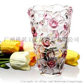混色大号玫瑰花水晶玻璃花瓶