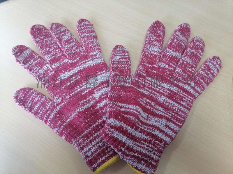 7针电脑机加厚红白色棉纱手套75g/只