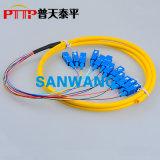 12芯(SC/PC)束状尾纤 12色光纤连接器