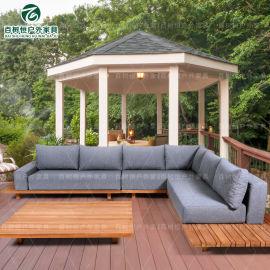 定制柚木沙发 酒店户外休闲实木沙发组合缅甸柚木家具