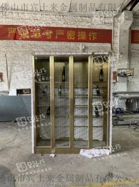 常温不锈钢酒柜拉丝面钛金酒柜家用平开酒柜定制
