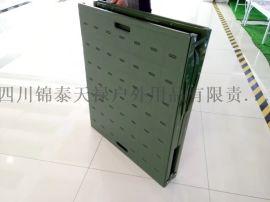 军绿二折叠钢塑行军床