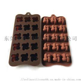 井字硅胶巧克力模具 15孔麻花糖果模 创意冰格
