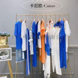 2020新款夏季卡尼欧纯色圆领T恤品牌女装视频看货