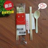 一次性筷子四件套外賣食具快餐勺衛生雙生筷四合一竹筷