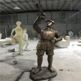 红色革命主题文化雕塑 梅州玻璃钢仿铜人物雕塑