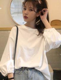 夏季新款2020韩版宽松显瘦时尚百搭网红灯笼袖长袖白色t恤女上衣