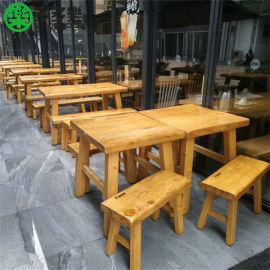 木屋烧烤实木餐桌 木屋烧烤同款桌子 同样形状桌椅