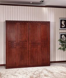 卧室环保实木衣橱稀珍黄菠萝木养生实木家具