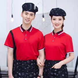 西餐厅早餐包子小吃店服务员工作服短袖T恤披萨汉堡店工装制服