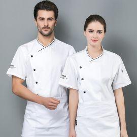 韩式斜襟厨师工作服男女短袖夏装餐厅食堂后厨厨师服短袖白色厨衣