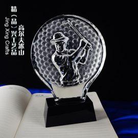 高尔夫水晶奖杯 高尔夫球比赛总杆评比纪念奖杯定制