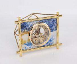 现代简约长方形竹节纹玻璃金属鹿头钟表时钟座钟摆台样板间摆件