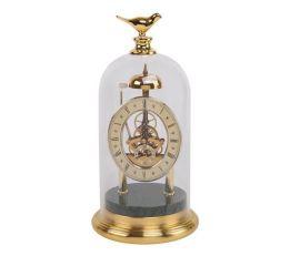 現代簡約創意金屬大理石鳥鍾表擺件時鍾座鍾擺臺樣板間擺件玻璃罩