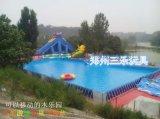 湖南長沙支架游泳池搭配龍頭水滑梯