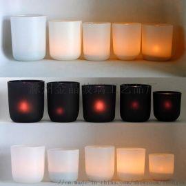 亚光黑色圆底玻璃烛杯,亚光白弧底玻璃烛台