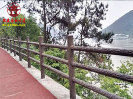 绵阳栏杆厂家,景区仿木纹栏杆设计定制
