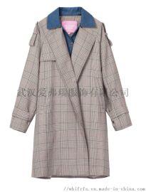 服装货源哪里找菲尔雅佳女士格子风衣【一手货源】
