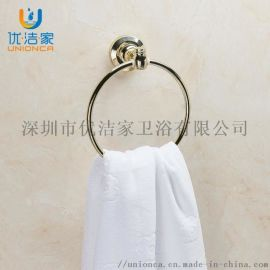 金色毛巾圆环 金色圆形毛巾环 全铜电镀毛巾环厂家