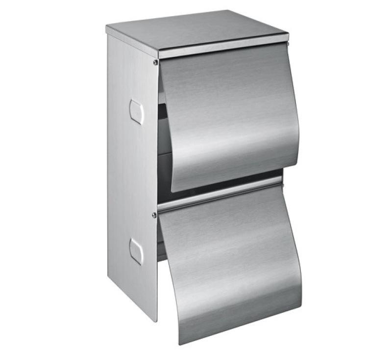 不鏽鋼上下雙捲紙巾架、同時放兩捲紙的廁紙盒