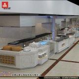 迪克自助餐饮装潢设计 自助餐厅装修效果图 大理石自助餐台设计