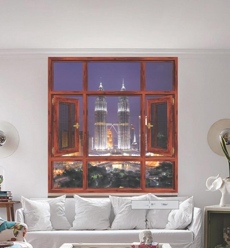 65系列隔音隔热双平开窗纱一体窗