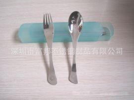 抽屉式塑料盒**鱼尾勺叉旅行餐具勺叉筷三件套