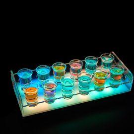 定制发光酒杯架亚克力12孔酒吧**杯架圆孔LED烈酒杯架七彩可调