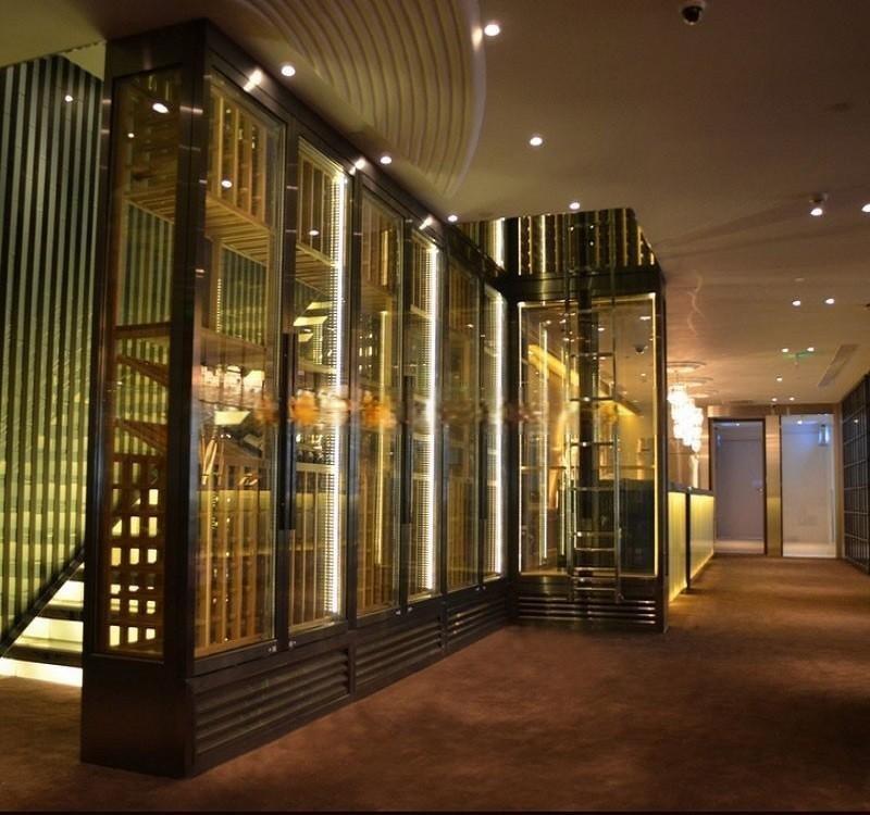 廠家直銷酒店不鏽鋼恆溫酒櫃 拉絲玫瑰金酒櫃 金屬酒櫃定製