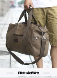 定做批发大容量全帆布旅行包定制生产日韩行李包男长短途单肩手提斜挎包女