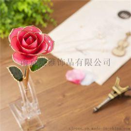 黛雅厂家直销镀金真玫瑰花 欧美时尚创意节日礼品