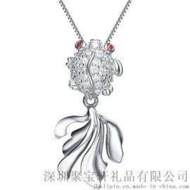 珠宝礼品 s925纯银镶嵌锆石灵动小鱼吊坠 韩版时尚百搭项链女 银饰品