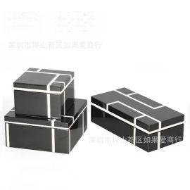 黑色亮光钢琴烤漆木质首饰盒简约收纳盒软装饰品样板间饰品摆件